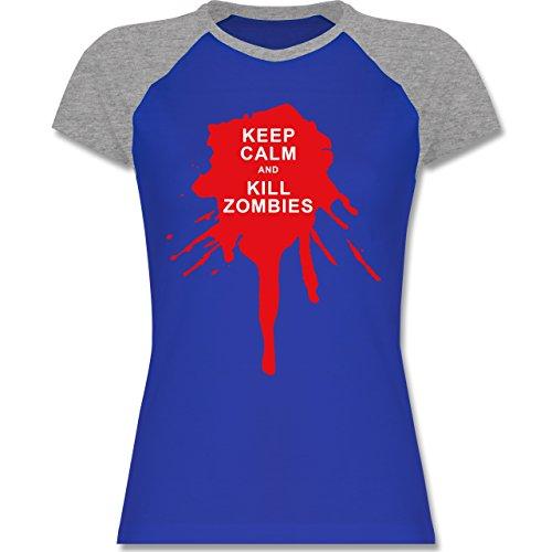 Keep calm - Keep calm and kill Zombies - zweifarbiges Baseballshirt / Raglan T-Shirt für Damen Royalblau/Grau meliert