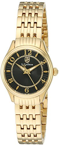 S.Coifman Women's Quartz Watch with Black Dial Analogue Display and Gold Stainless Steel Plated Bracelet SC0344
