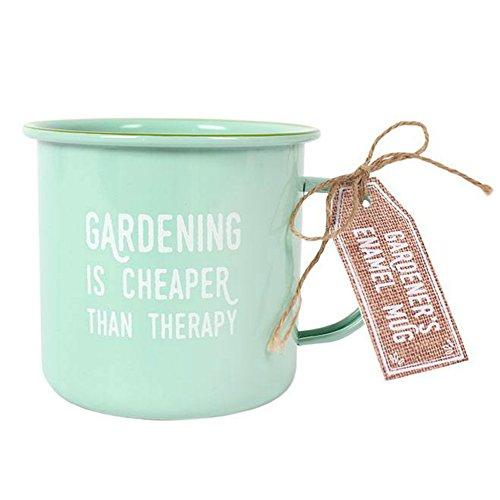 Tasse \'Gartenarbeit ist Therapie\' Emaille türkis Becher