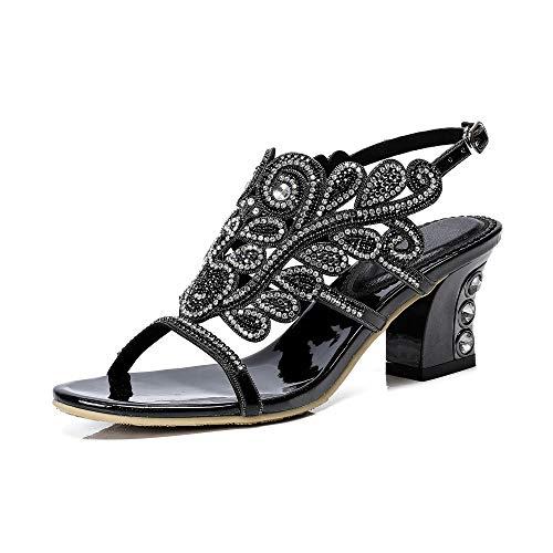 Soulength Sommer Komfort Block Blockabsatz Sandalen Mode runde Kappe farbigen Glitzersteine Verschönerung hohlen Abend Sandalen