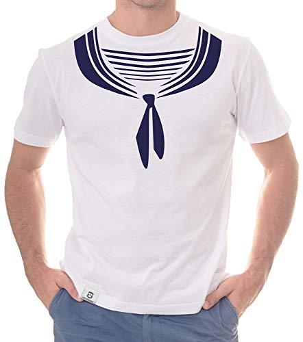 Shirtdepartment - Herren T-Shirt - Matrose Weiss-dunkelblau L
