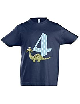 wolga-kreativ T-Shirt Dino 4 Geburtstag Gr. 96-104 cm Dinosaurier Geburtstagsshirt dunkelblau