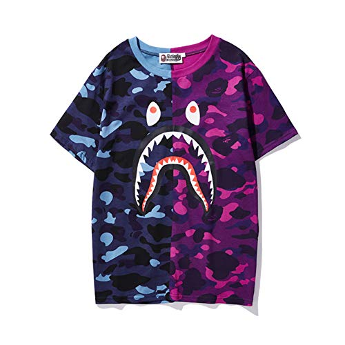camo bape Shirt|Bape T Shirt Blue Purple Black and Green Color Matching Cotton t-Shirt Men Women - Bape Camo Hoodie