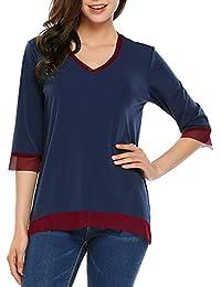 98427fadf04e Beyove Shirt Damen V Ausschnitt 3 4 Ärmel mit Tüll Mesh Stretch Lose Tunika Tops  Oberteile Bluse T-Shirt…
