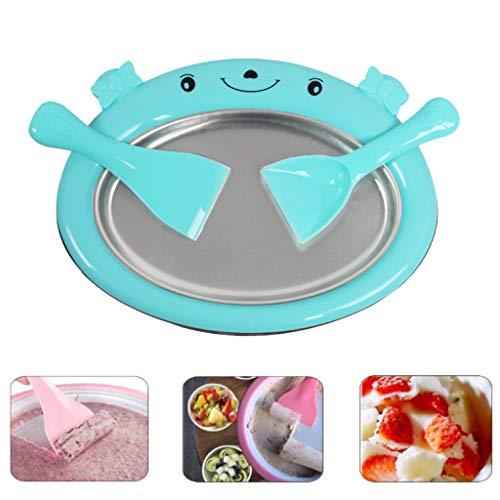Eisplatte zum EIS Machen EIS-Teppanyaki-Platte zum Zubereiten von Ice Cream Rolls, Kinder DIY Sweet Spot EIS-Maker, Gebratene Eismaschine mit 2 x Spachtel VNEIRW (Blau)