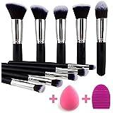 KYLIE Makeup Brushes Set Premium Synthetic Kabuki Foundation Face Powder Blush Eyeshadow Brush Makeup Brush Kit with Blender Sponge and Brush Cleaner (10pcs,Black/Silver)