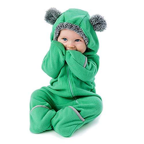 Disney Größe Kostüm 22 - MRULIC Baby Overall Mit Kapuze Footies Winter Strampler Schneeanzüge Karikatur Jumpsuit Mädchen Jungen Kleidungsset Fleece Footed Spielanzug(D-Grün,Höhe:95-100cm)