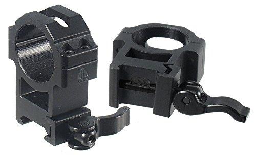 UTG Montage Ringe Max Strength Le Grade Quick Detach Picatinny Rings: 2 Pieces, 30mm Diam, Hi Profile, RQ2W3224
