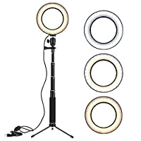 Honorall 8 Inch Desktop Mini LED Video Ring Light Lamp Dimmable 3 Lighting Modes USB Powered with Telescopic Light Stand Mini Desktop Tripod for Network Broadcast Selfie Facial Makeup