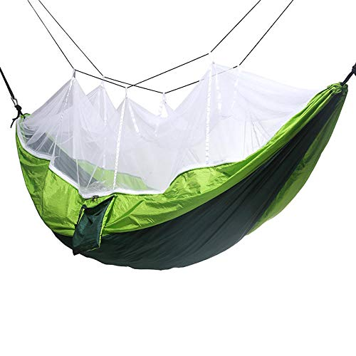 Ultra-Licht Atmungsaktiv,Parachute Tuch Doppelmoskitonetz Hängematte, militärgrün Outdoor-Freizeit Camping Nylon Stuhl @ Dark Green Fruit grün + weißes Garn,Hängematte Field Survival Set -
