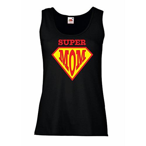 Damen Tank-Top Super MOM - für Frau Geschenke Frauen (XX-Large Schwarz Mehrfarben)