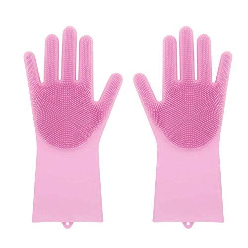 RAINBEAN Guantes de silicona reutilizables para fregar platos, lavar el coche, cepillar o bañar a la mascota