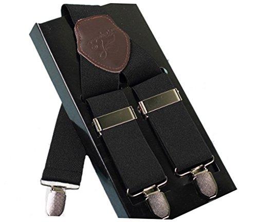 ACME - Bretelles Y entièrement réglable Cuir Pour homme avec 3 clips élastique Solide Casual Pantalon Jeans Couleur Pure Noir