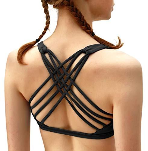 QUEENIEKE Damen Yoga Sport BH leichte Unterstützung Strappy frei BH Farbe Schwarz Größe XS -