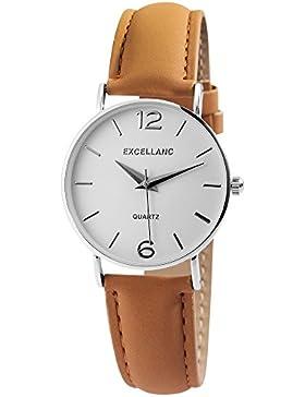 Excellanc Damenuhr analog Armbanduhr Silberfarbig Quarzwerk und Metallgehäuse rund 34mm x 7mm Echtleder Armband...