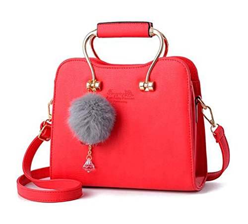 Honeymall Damen Tote Handtaschen Henkeltasche Mini Schulter Messenger Bag Frauen Mit Diamant Anhänger Haarball(Pink) Rot
