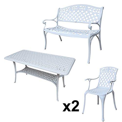 Lazy Susan - CLAIRE Rechteckiger Garten Beistelltisch mit 1 ROSE Gartenbank und 2 ROSE Stühlen - Gartenmöbel Set aus Metall, Weiß