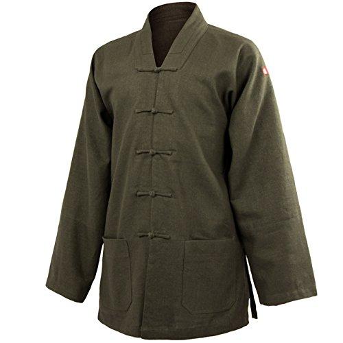 wu designs Leinen (schwer) Tai Chi Oberteil V-Kragen - Taiji Shirt - Tai Chi Anzug - Kung Fu - Wushu - Dunkelgrün - 160