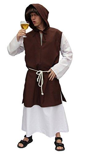 Karneval-Klamotten Mönch Kostüm Herren Mönch-Kutte braun Mittelalter Herren-Kostüm Männer Gewand mit Kordel Zisterzienser Karneval Größe 58