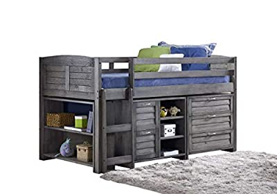 Mission TM Cozy Mid Sleeper Finished in a Brushed Grey Solid Brazilian Pine. (Ladder on the Left)