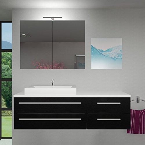 Badmöbel Set City 210 V1 Esche schwarz, Badezimmermöbel, Waschtisch 160cm, Beleuchtung Spiegelschrank:ohne +0.-EUR