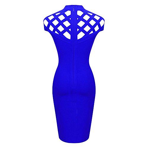 HLBandage Turtleneck Hollow Out Lattice Cap Sleeve Rayon Bandage Dress Bleu