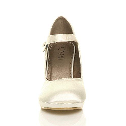 Ajvani Femmes Talon Haut Mary Jane Soir Travail Escarpins Babies Chaussures Pointure Satin ivoire