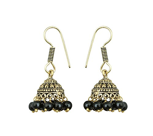 Waama Jewels Oxidised Metal Earring Latest Best Christmas Indian Jhumki/Jhumka Multi-Colour Golden With Black Colour Pearls For Women/Girls.  available at amazon for Rs.89