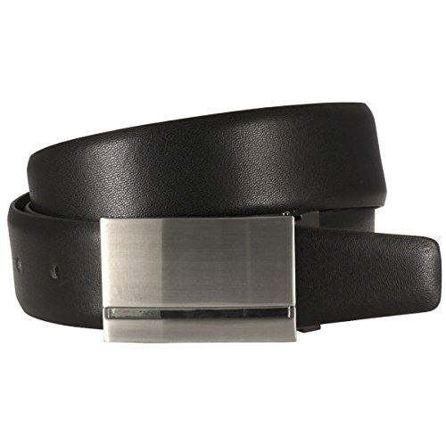 Lindenmann Mens Leather Belt/Mens Belt,leather belt curved plate buckle, black