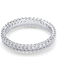 Peora 925 Sterling Silver Cubic Zirconia Rhodium Gleaming Eternity Ring For Women And Girls
