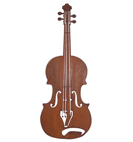 Metallmichl Edelrost Geige zum Hängen Höhe 60 cm, Wand-Dekoration/Wand-Bild für innen und außen aus rost Metall