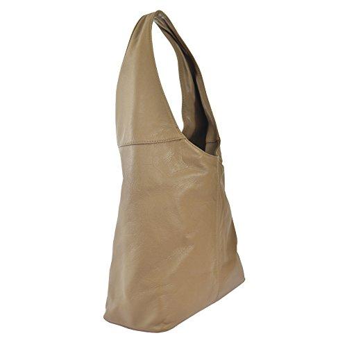 CTM Borsa a spalla da donna in vera pelle made in Italy D6170 - 41x55x12 Cm Fango