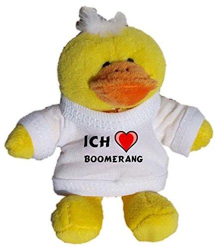 Plüsch Hähnchen Schlüsselhalter mit einem T-shirt mit Aufschrift mit Ich liebe Boomerang (Vorname/Zuname/Spitzname)