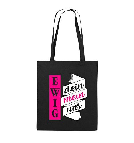 Comedy Bags - Ewig dein, ewig mein, ewig uns - Jutebeutel - lange Henkel - 38x42cm - Farbe: Schwarz / Weiss-Pink Schwarz / Weiss-Pink