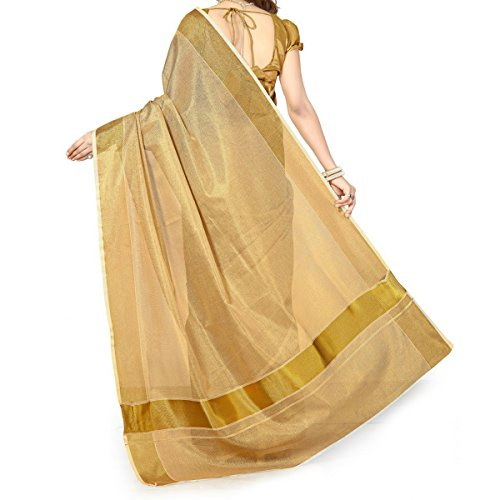 Infant Yogi™ Canannore Handloom Full Tissue Kasavu Saree with Added Blouse Piece,...