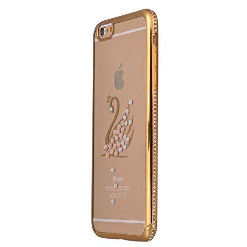 iPhone 6/6S/6PLUS/6S Plus Hülle, weiche TPU Design Glitzer Diamant Rose Gold/Gold Galvanisiert Vergoldung Rahmen Crystal Clear TPU Bumper Schutzhülle für iPhone 6/6S 11,9cm und 6/6S Plus 14cm, plas Gold-Swan