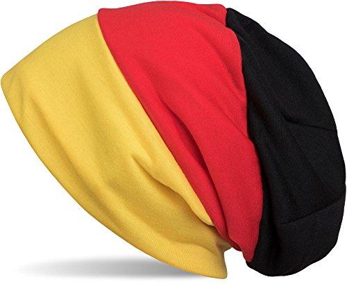 styleBREAKER Beanie Mütze im Deutschland Flaggen Design, Streifen Muster, Fanartikel, Unisex 04024072, Farbe:Schwarz-Rot-Gold -