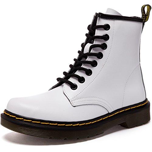 JACKSHIBO Damen Herren Klassischer Martin Stiefel Winter Warme Gefüttert Stiefeletten Schneestiefel Leder,No samt,Weiß,EU 42 (Schwarze Und Weiße Stiefel)
