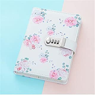 cuzit Keep Your Secret Tagebuch Schreiben Notebook Frische Blume Tägliche Private Notizblock mit Zahlenschloss und Stift holder-pink Rose