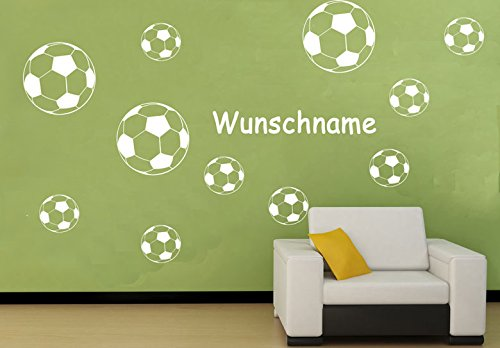 Deco-idea Wandtattoo Wandaufkleber Fussballer Fussball Soccer Football Kinderzimmer wfb07(010 Weiss, set4:3xΦ19 und 4xΦ14)