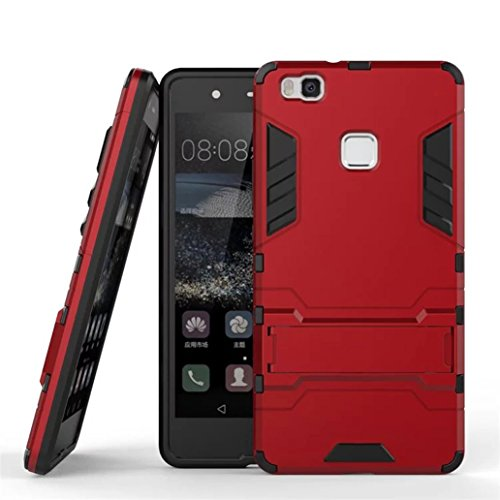 Cover Huawei P9 Lite, Yoowei® [Rugged Armor] Kickstand Series Ultra Sottile Shock-Absorption Anti-Graffio 2 in 1 Ibrido Rugged Duro PC + Morbido Gomma Silicone Case Cover Antiurto per P9 Lite, Rosso