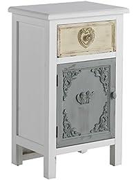 GEESE 7656 - Mesita de madera con cajón y puerta, 30 x 40 x 66 cm, color blanco