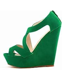 Sandalias de tacon alto - TOOGOO(R)zapatos ocasionales de tacon alto de mujer de boda con plataforma zapatos de botines verde 39
