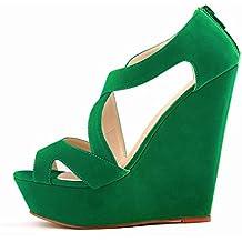 Sandalias de tacon alto - SODIAL(R)zapatos ocasionales de tacon alto de mujer de boda con plataforma zapatos de botines verde 38