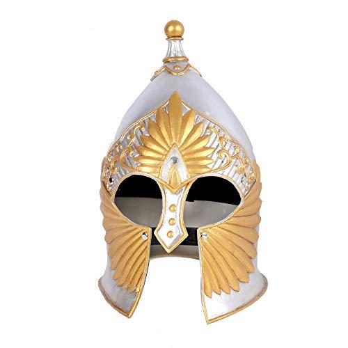 CHNA MA Halloween Mardi Gras Karneval Party Maskerade Silikon Cosplay mittelalterlichen antiken römischen Vintage Samurai Krieger Helm,White