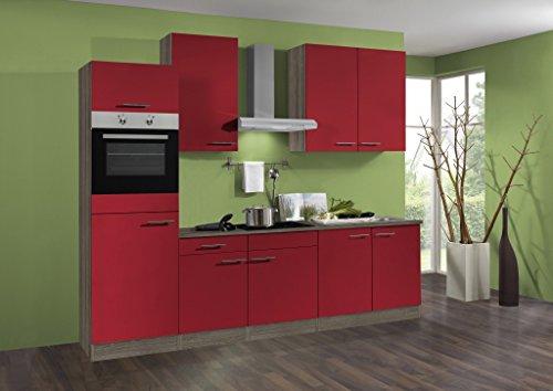 idealShopping Küchenblock mit Elektrogeräten Imola in rot 270 cm breit