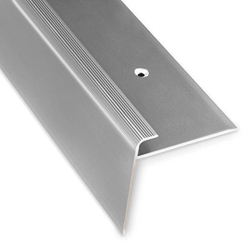 Treppenkantenprofil Safety | silber | F-Form | 53mm Höhe mit einer Einfasshöhe von 7-8mm | Erhältlich in 4 Farben und 3 Längen (90cm)