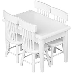 SODIAL(R) 5 piece Modele Chaise de Table a Manger Ensemale de Meubles Maison de Poupee Miniature Blanc 1 / 12