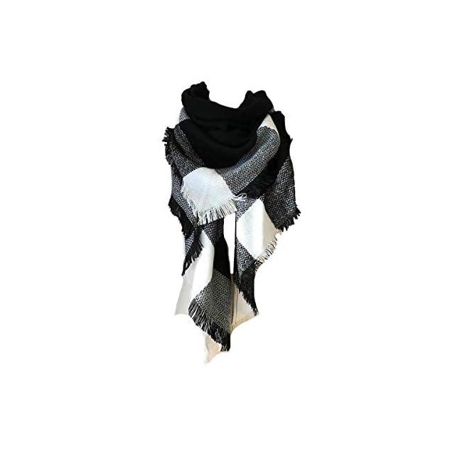 heekpek Écharpe Chale Femme Cachemire Chaud Automne Hiver Grand Plaid Tissu  Glands Foulard (Noir) ... 16c0985a6b4