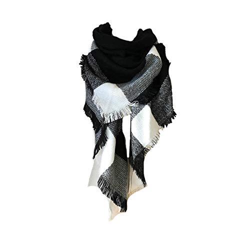 heekpek Écharpe Chale Femme Cachemire Chaud Automne Hiver Grand Plaid Tissu Glands Foulard (Noir)